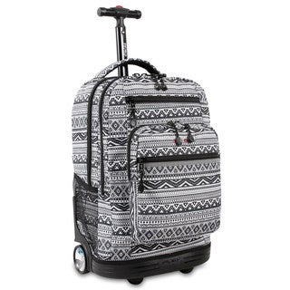 J World Sundance White/Black Aluminum/Plastic Tribal Rolling Backpack