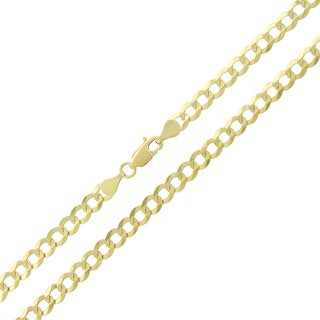 10k Gold 4.5mm Solid Cuban Curb Link Chain Necklace