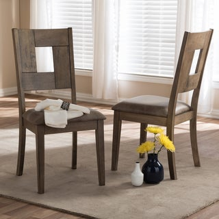 Baxton Studio Aminta Country Cottage Weathered Grey Finishing Wood and Brown Faux Leather Upholstered Dining Chair Set