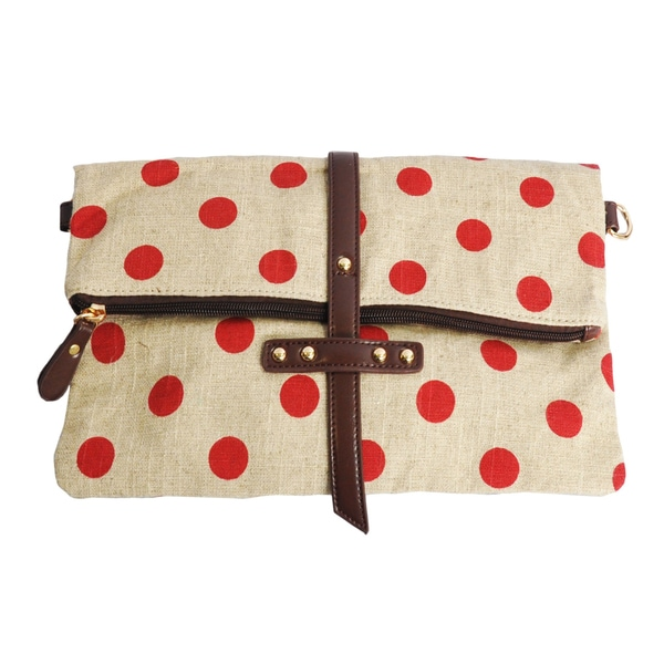 Moda Polka Dot Canvas Clutch