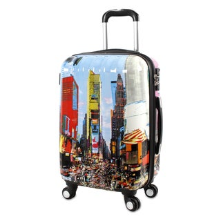 J World Times Square Multicolor Polycarbonate 21-inch Fashion Hardside Carry-on Spinner Upright Suitcase