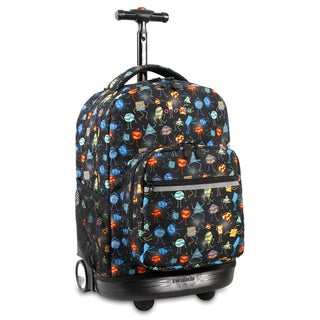 J World Sunrise Party Mobs Black Aluminum/Plastic 18-inch Rolling Backpack