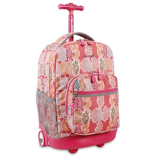 J World Sunrise Pink Forest 18-inch Rolling Backpack
