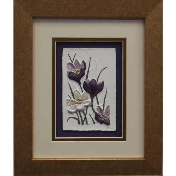 Cast Paper 'Crocus' 10x12 Indoor/ Outdoor Framed Art