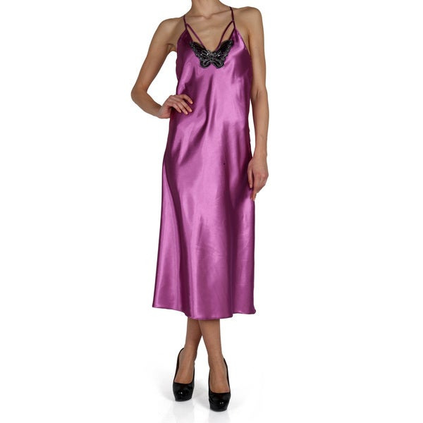 Miorre Butterfly Applique Long Orchid Nightgown 19320818