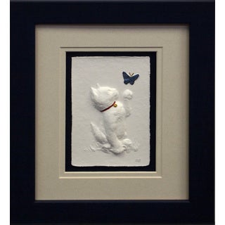 Cast Paper 'Butterfly Cat' 10x12 Indoor/ Outdoor Framed Art