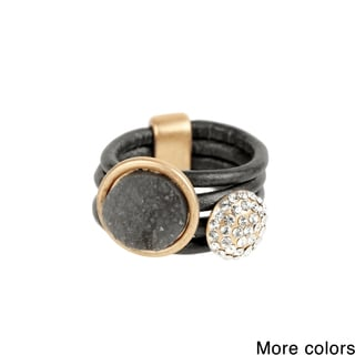 Saachi Faux Druzy Leather Ring (China)