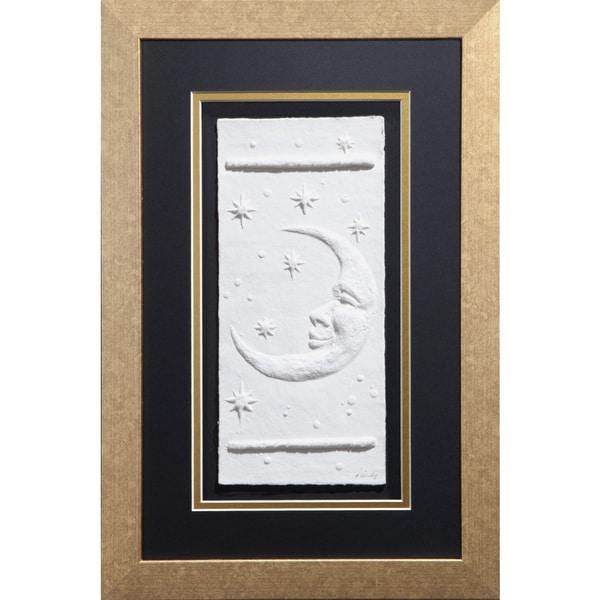 Cast Paper 'Moon' 12x18 Indoor/ Outdoor Framed Art