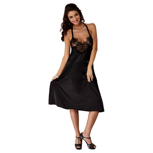 Miorre Women's Black Polyester V-neck Halter Nightgown with Lace Top