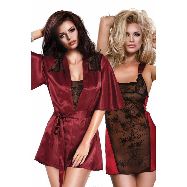 Miorre Women's Sexy Burgundy Polyester and Black Lace Chemise with Matching Robe