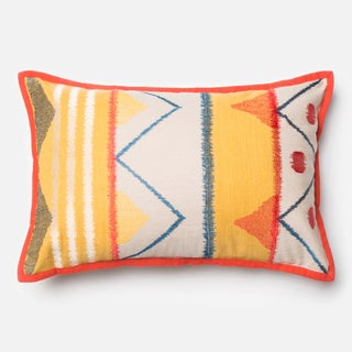 Embroirdered Cotton Yellow/ Multi Rustic Feather and Down Filled or Polyester Filled 13 x 21 Lumbar Throw Pillow or Pillow Cover