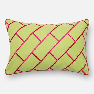 Embroidered Cotton Lime/ Pink Feather and Down Filled or Polyester Filled 13 x 21 Lumbar Throw Pillow or Pillow Cover