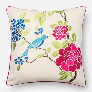 Embroidered Cotton Pink/ Ivory Floral Song Bird Feather and Down Filled or Polyester Filled 18-inch Throw Pillow or Pillow Cover