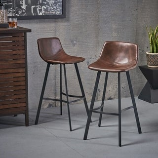Dax 30-inch Faux Leather Snake Skin Pattern Barstool (Set of 2) by Christopher Knight Home