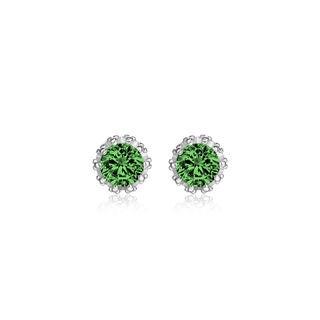 18k White Gold Overlay 2-carat TCW Genuine Emerald Crown Earrings