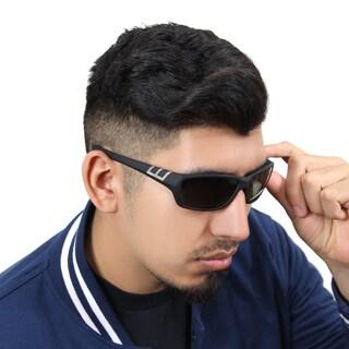 Zodaca Mens Driving Outdoor Polarized Black/ Green Lenses 100% UV Protection Sports Wrap Sunglasses