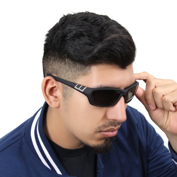 Zodaca Mens Driving Outdoor Polarized Black/ Green Lenses 100-percent UV Protection Sports Wrap Sunglasses