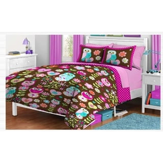 Reversible Comforter and Sham Set - Twin Size - Owl Collection