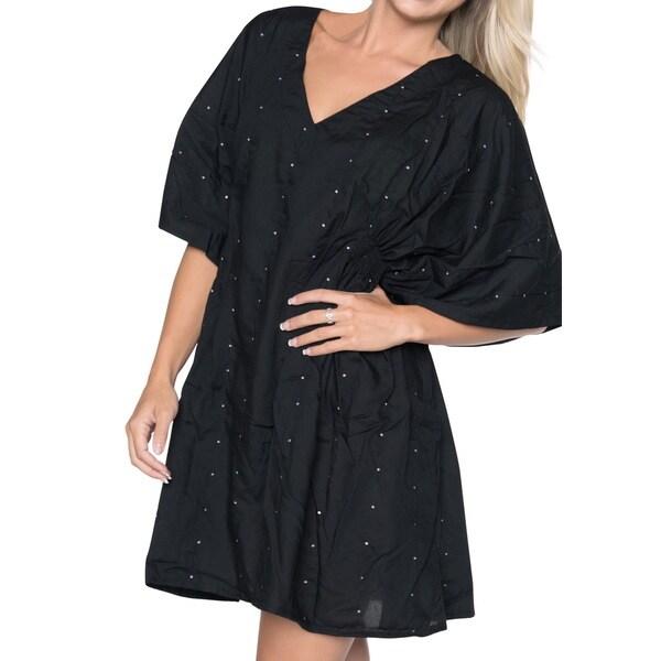 La Leela SOFT Rayon Sequin Embroidered Bikini Swimwear Cover up Beach TOP White