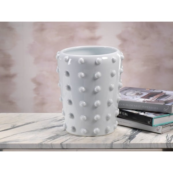 Round White Studded Ceramic Vase