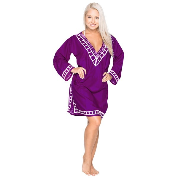 La Leela Bikini Cover up SMOOTH SUPER SOFT Rayon Embroidered Plain Beach Coverup Royal Violet