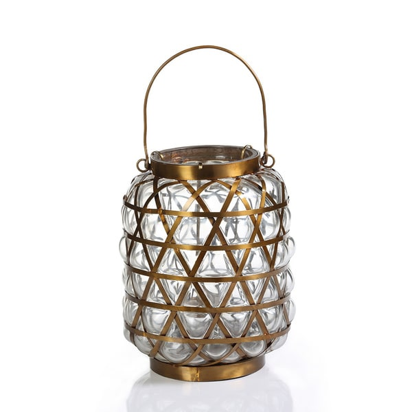 Bubble Basket Antique Brass Lantern/Clear - Large