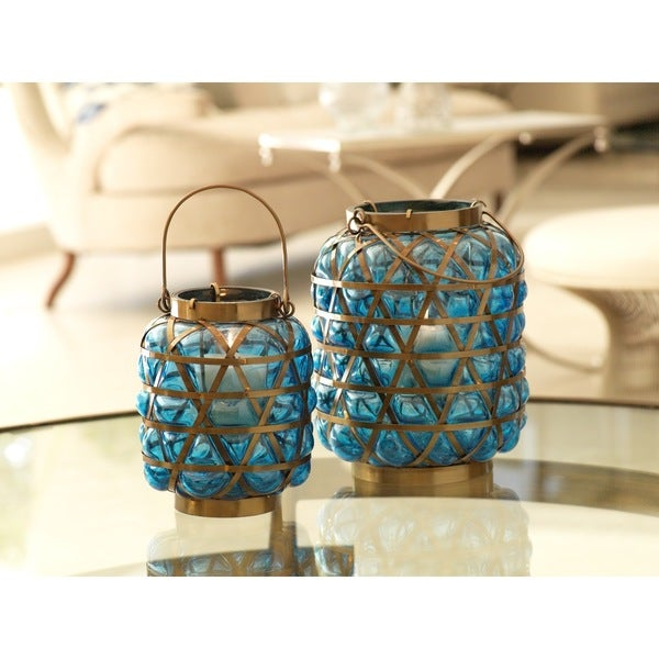 Bubble Basket Antique Brass Lantern/Blue - Large