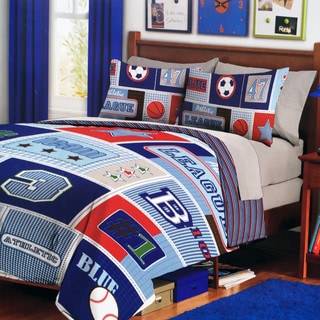 Blue Leaders Collection Sport Reversible Comforter Set - Twin