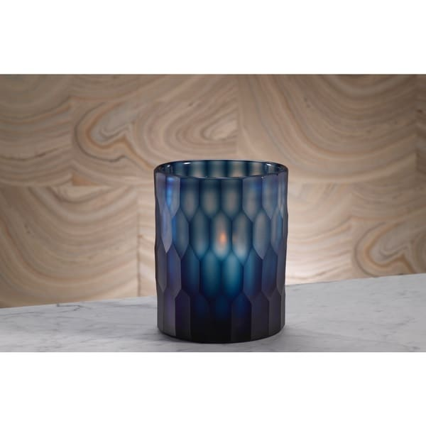 Deep Blue Cut Round Glass Vase