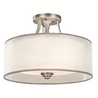 Kichler Lighting Lacey Collection 3-light Antique Pewter Semi-Flush Mount