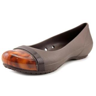 Crocs Women's 'Cap Toe Flat' Brown Synthetic Casual Shoes