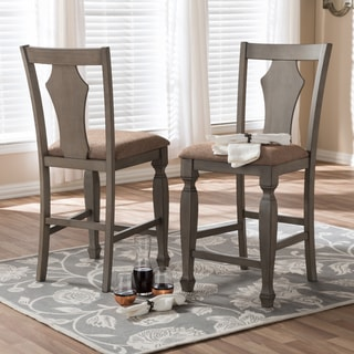 """Baxton Studio Amenophis Country Cottage Weathered Grey Finishing Wood and """"Wheat"""" Brown Fabric Upholstered Counter Stool Set"""