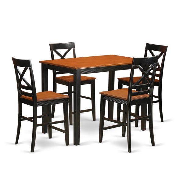 Solid Rubberwood 5 Piece Counter Height Dining Table Set