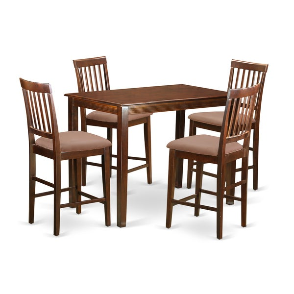 Natural Mahogany Solid Rubberwood 5-piece Counter-height Dining Set 19323287