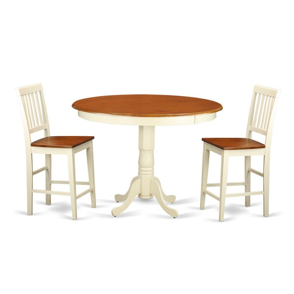 solid rubberwood 3 piece counter height pub dining table and chair set