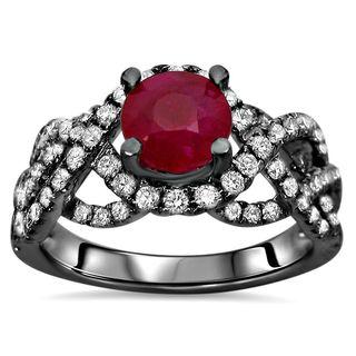 Noori Collection 14k Black Gold 1 3/5-carat TGW SI1/SI2 F/G Ruby Halo Diamond Engagement Ring