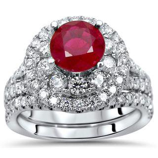 Noori 14k White Gold 2-carat TGW Ruby Double Halo Diamond Engagement Ring Set