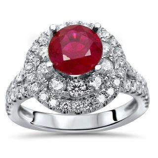 Noori 14k White Gold 1.8-carat TGW Ruby Double Halo Diamond Engagement Ring