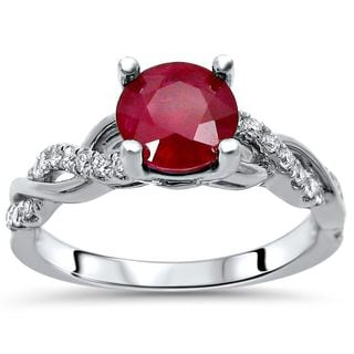Noori Collection 14k White Gold 1 1/5-carat TGW SI1/SI2 F/G Ruby Diamond Engagement Ring