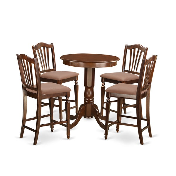 Mahogany Rubberwood Five-piece Counter-height Dining Set 19323859