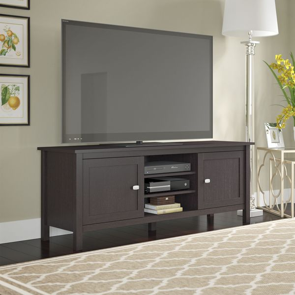 Bush Furniture Broadview Espresso Oak TV Stand for TVs up to 65 inches