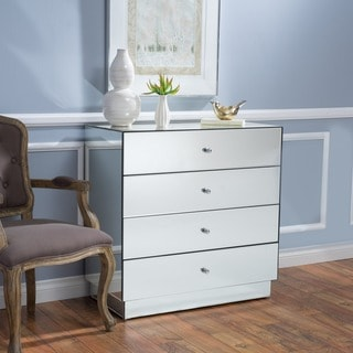 Christopher Knight Home Lada Silver Wood Four-drawer Mirrored Cabinet