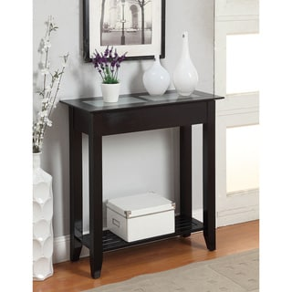 Convenience Concepts White and Black Glass and Wood Hall Table