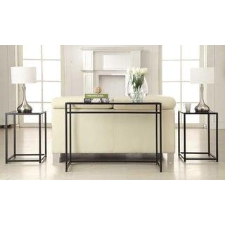 Convenience Concepts Designs2Go Black Glass, Stainless Steel 3-piece Console Set