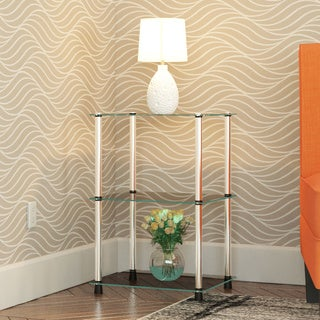 Convenience Concepts Designs2Go Black and Clear Glass and Stainless Steel 3-tier Lamp and End Table