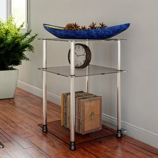 Convenience Concepts Designs2Go Clear Glass, Stainless Steel 3-tier End Table