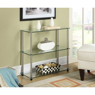 Convenience Concepts Designs2Go Black, Clear Glass, Stainless Steel 3-shelf Bookcase