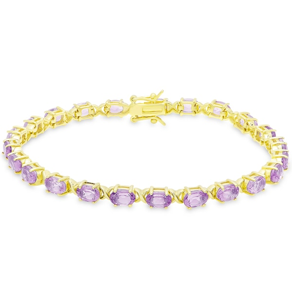 Dolce Giavonna Gold Over Sterling Silver Oval Cut Amethyst XO Link Bracelet 19324627
