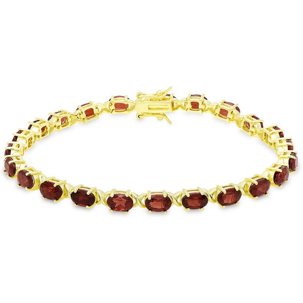 Dolce Giavonna Gold Over Sterling Silver Oval Cut Garnet XO Link Bracelet 19324632