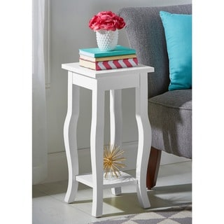Kate and Laurel Lillian Wood Curved Leg End Table With Shelf